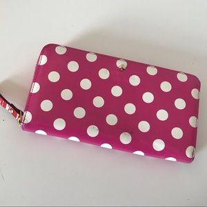 Kate Spade Zipper wallet- Pink Polka Dot